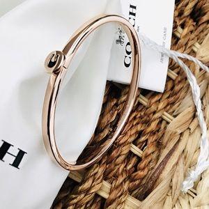 Rose Gold Coach hinged bangle bracelet NWT